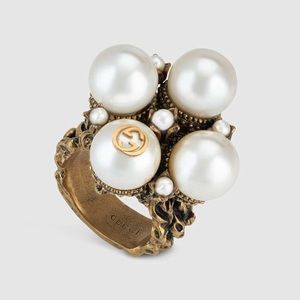 GUCCI 2019 Gold XL Chunky Pearl GG Ring Size 6